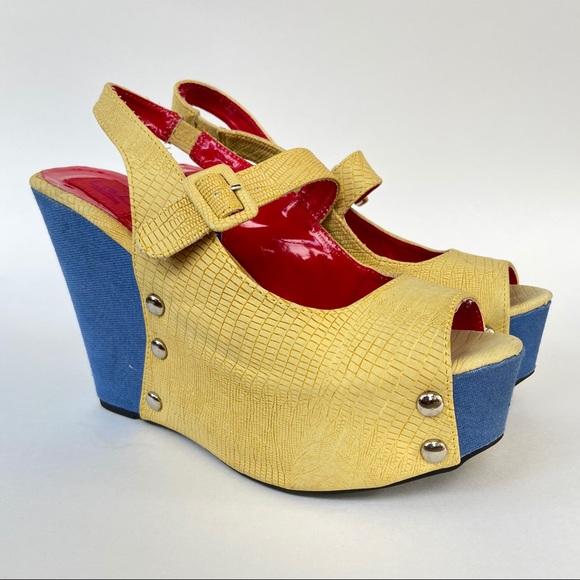 FRH open toe ankle strap platform wedge sandals